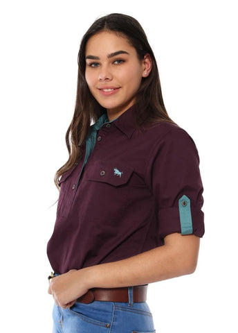 171210002-AUB Ringers Western Womens Half Button Work Shirt Aubergine