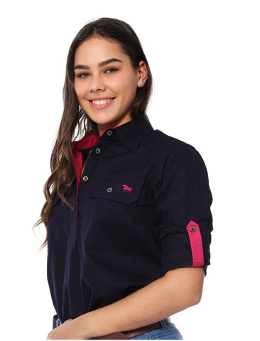 171210002-DNV Ringers Western Womens Half Button Work Shirt Dark Navy