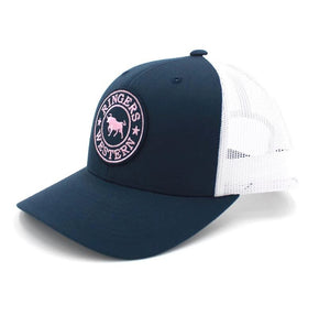 171120006-NVWH-NVPI Ringers Western Signature Bull Trucker Navy &White with Navy & Pink Patch
