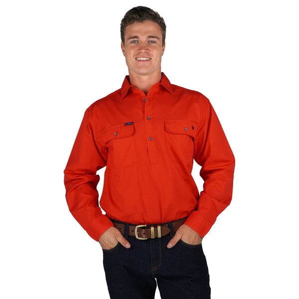 171110002-RE Ringers Western Men's King River Half Button Work Shirt Red