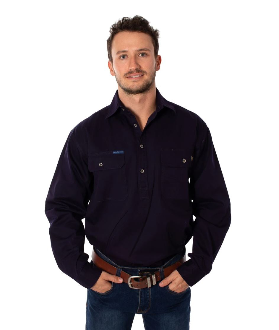 171110002-DNV RINGERS Ringers Western Mens Half Button Work Shirt Dark Navy