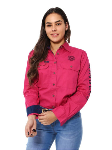 218110002-MAG/NV  Ringers Western Womens Jillaroo Full Button Work Shirt Magenta