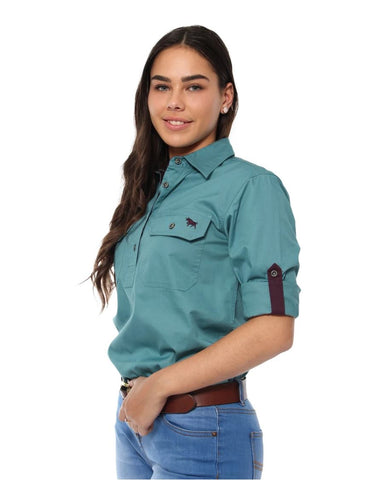171210002-DUJ Ringers Western Womens Half Button Work Shirt Dusty Jade