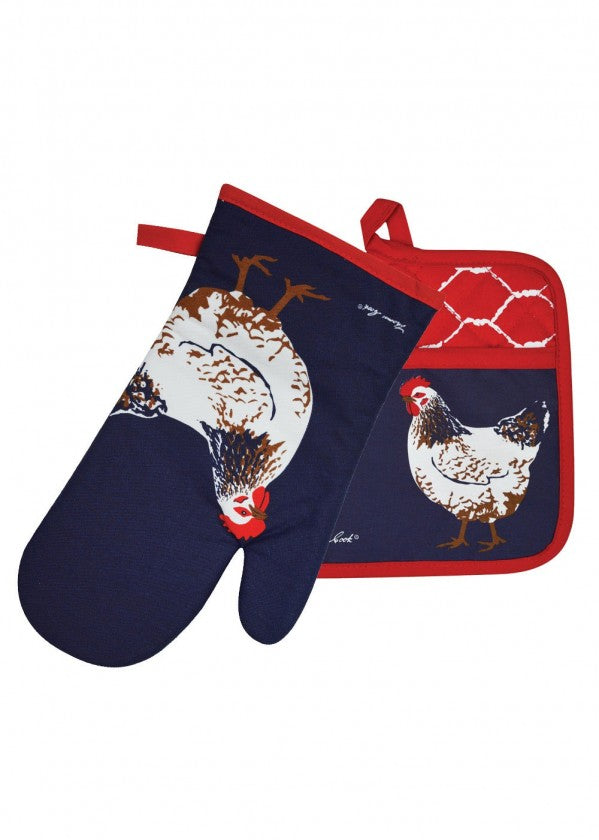 TCP2922096 Thomas Cook Oven Mitt Pot Holder Set Chook