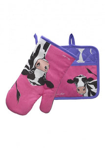 TCP2922096 Thomas Cook Oven Mitt Pot Holder Set Cow