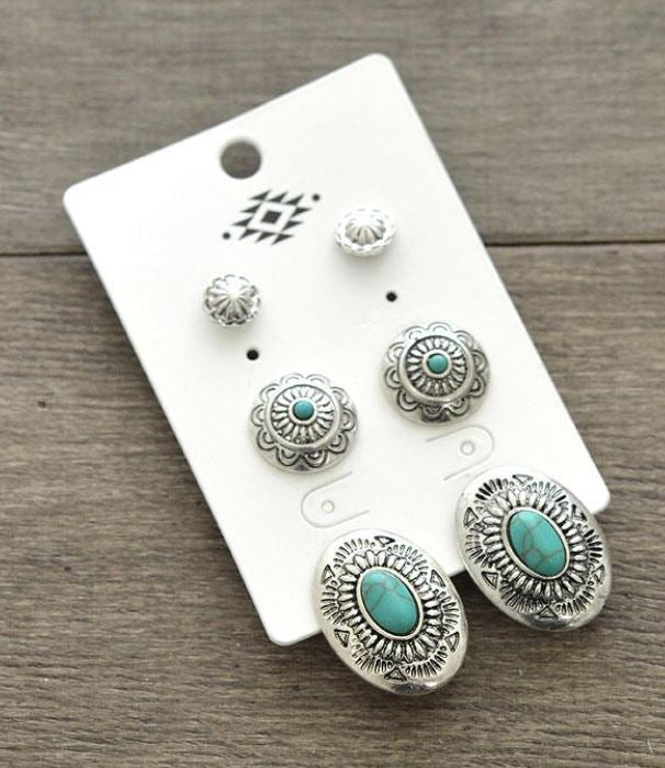 142218  Western Fashion Conco Earrings Set of 3 Turquoise