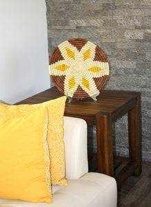 A lifestyle photo of Buna Basket displayed on a side table