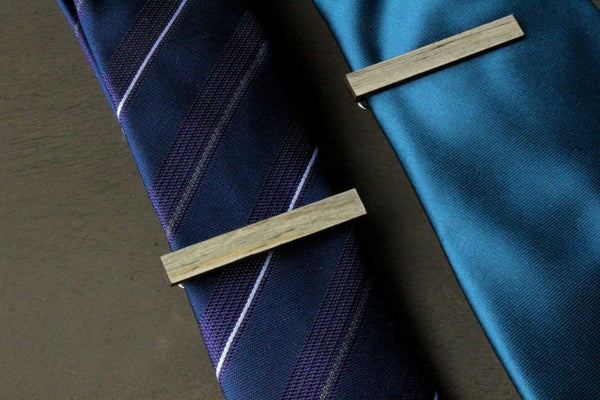 Salvaged Wood Square Cufflinks & Tie Clip Set