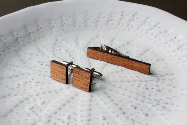 Mahogany Wood Square Cufflinks & Tie Clip Set