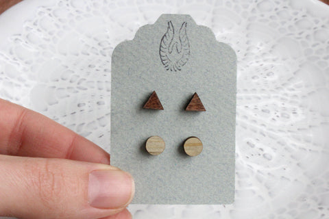 Triangle & Round Wood Stud Earring Set