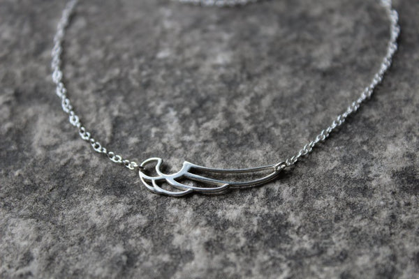 Minimal Bird Wing Necklace // Sterling Silver