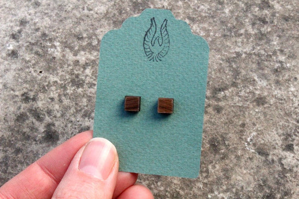 Square Walnut Wood Stud Earrings