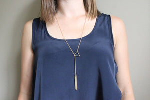 Salvaged Wood Threader Lariat Necklace