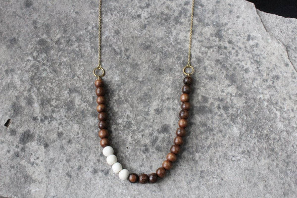 Beaded Wood Necklace with Customizable Accent Colour
