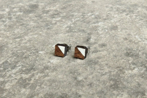 Square Walnut Wood Stud Earrings with White Accent