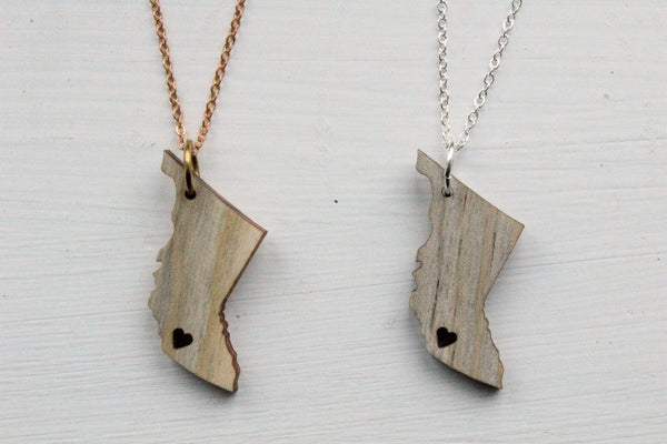 British Columbia Love Necklace with Salvaged BC Wood