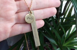Custom Hand Stamped Wood Bar Necklace