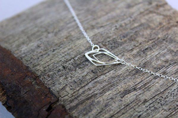 Geometric Raindrop Necklace // Sterling Silver