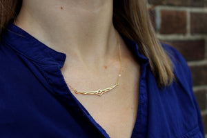 Geometric Phoenix Necklace // Gold Filled