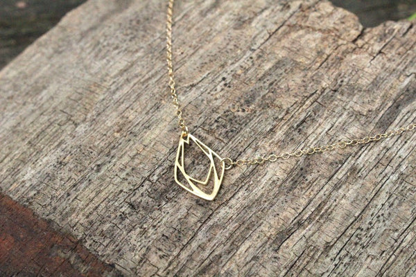 Geometric Raindrop Necklace // Gold Filled