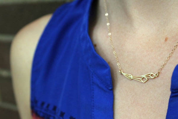 Geometric Shooting Star Necklace // Gold Filled
