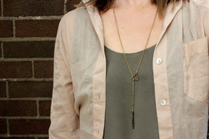 Triangle Threader Lariat Necklace with Antiqued Brass Beads