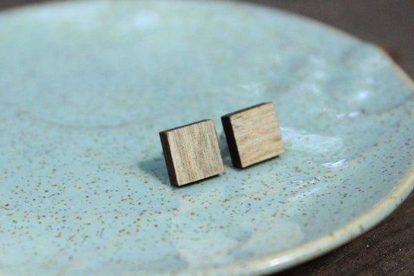 Big Square Salvaged Wood Stud Earrings