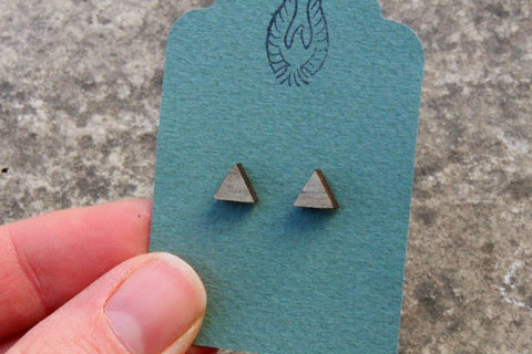 Triangle Salvaged Wood Stud Earrings