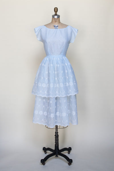 1950s dress in baby blue eyelet cotton