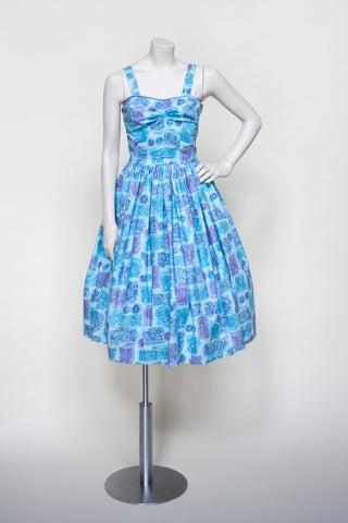Vintage 1950s novelty print dress