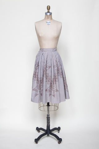 1950s brown gingham skirt from Dalena Vintage