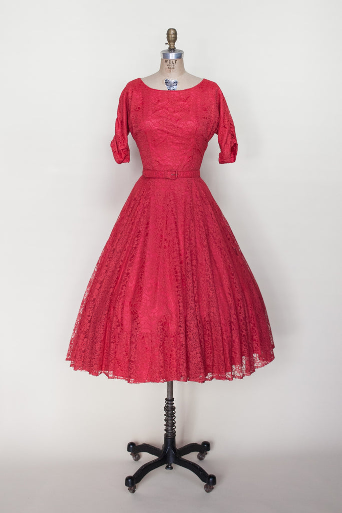 1950s red lace party dress