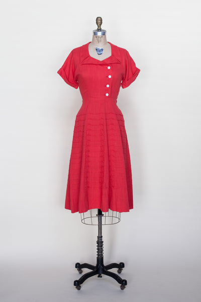 1950s red linen dress from Dalena Vintage