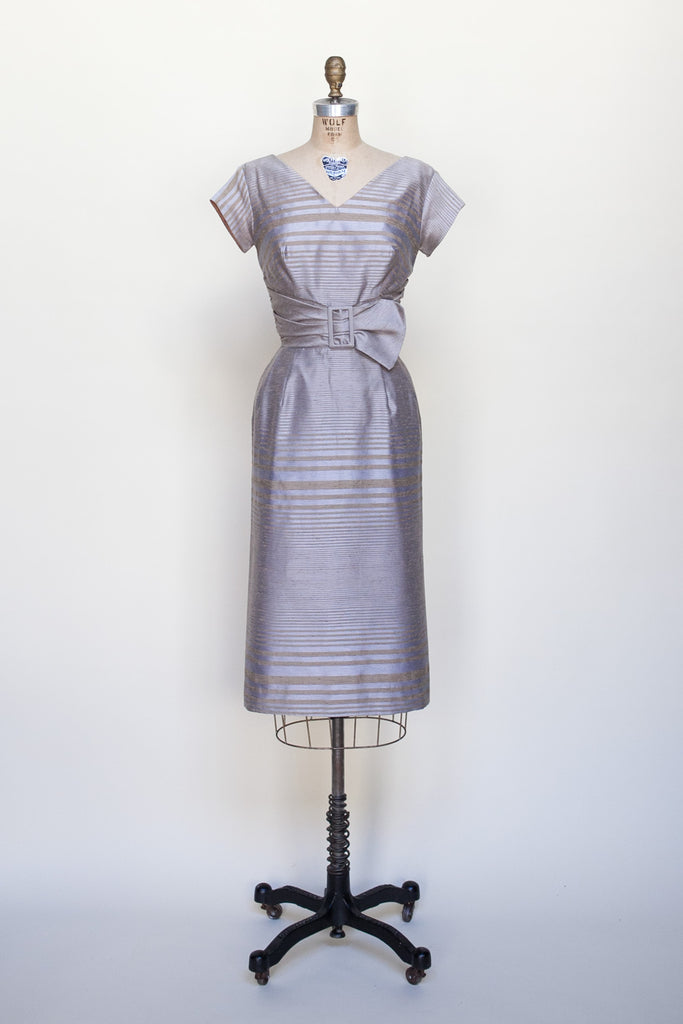 1950s striped cocktail dress