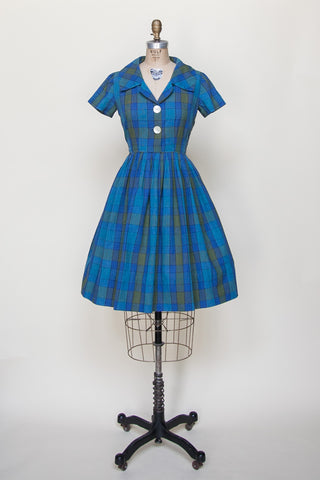 Vintage 1960s blue plaid day dress from Dalena Vintage