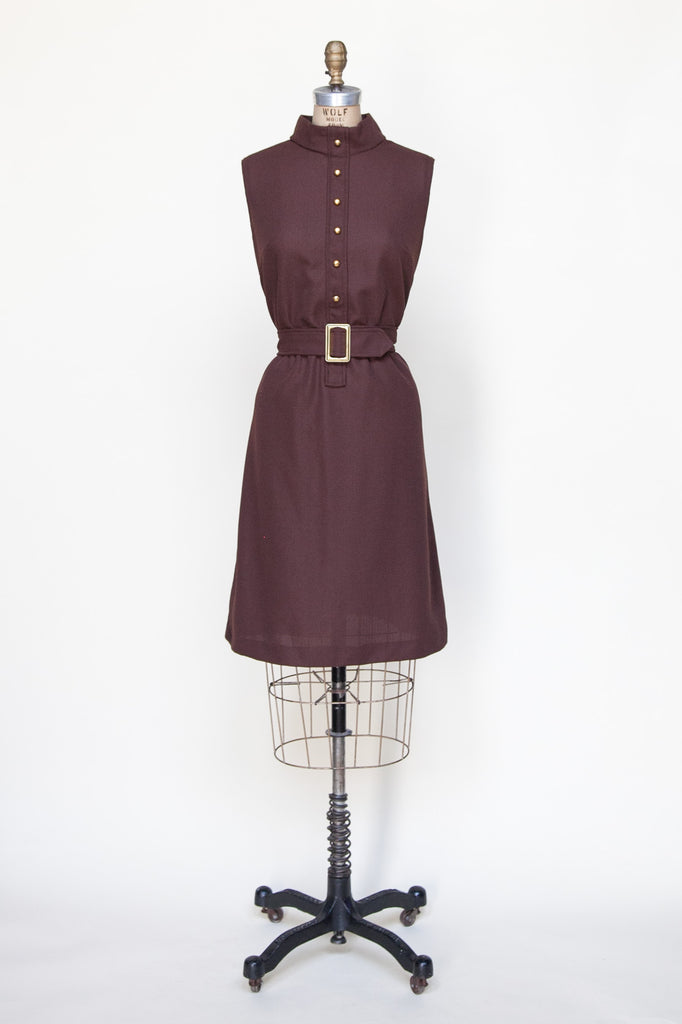 1960s chocolate brown shift dress from Dalena Vintage