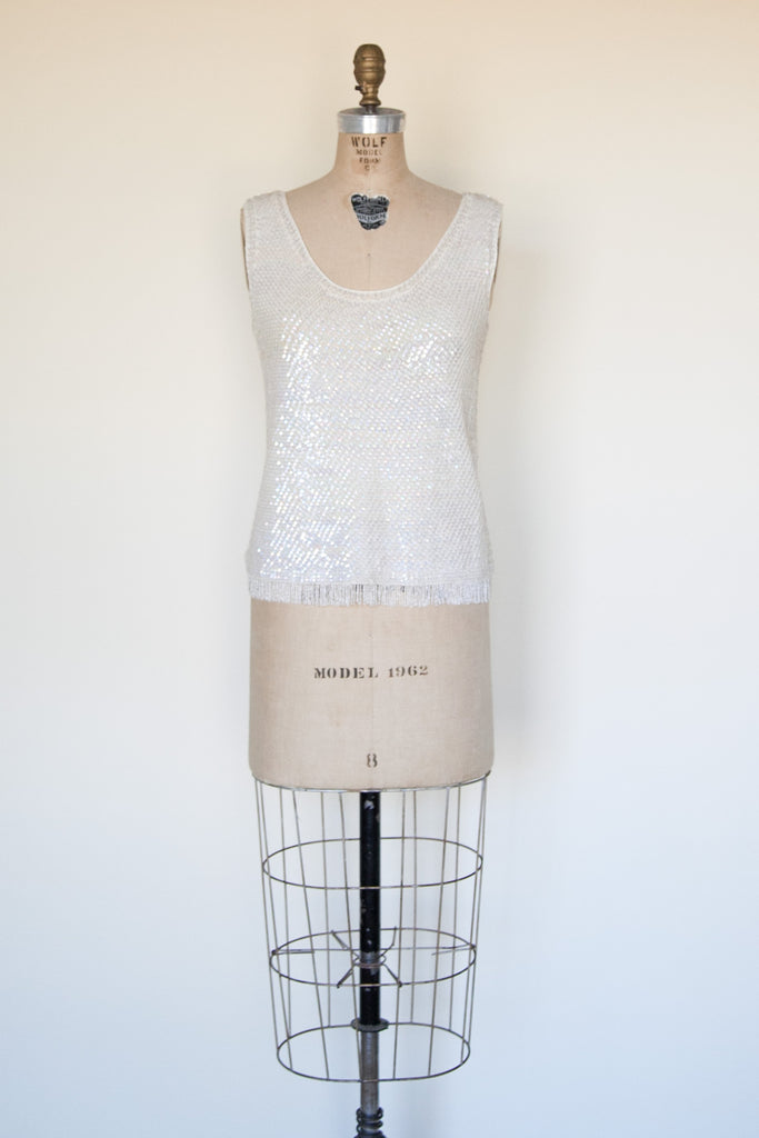 Vintage 1960s winter white sequin top