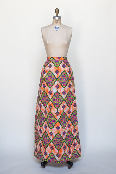 Vintage 1960s quilted maxi skirt from Dalena Vintage