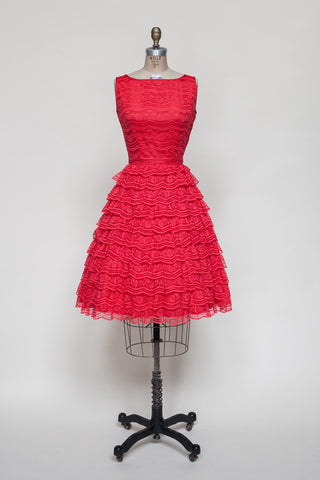 Vintage 1960s red lace party dress
