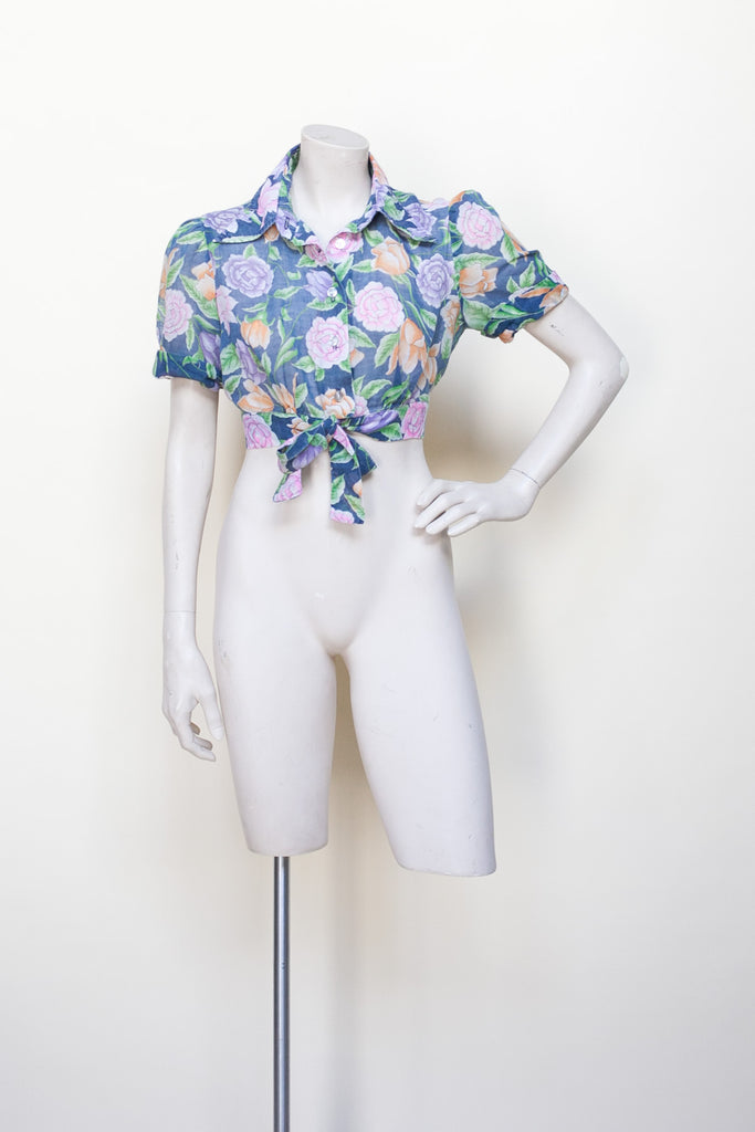 Vintage 1970s floral crop top by Onebigfishgreenevents