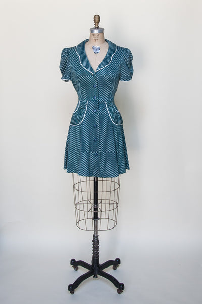 1970s polka dot mini dress