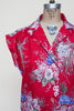 1970s red Hawaiian print blouse