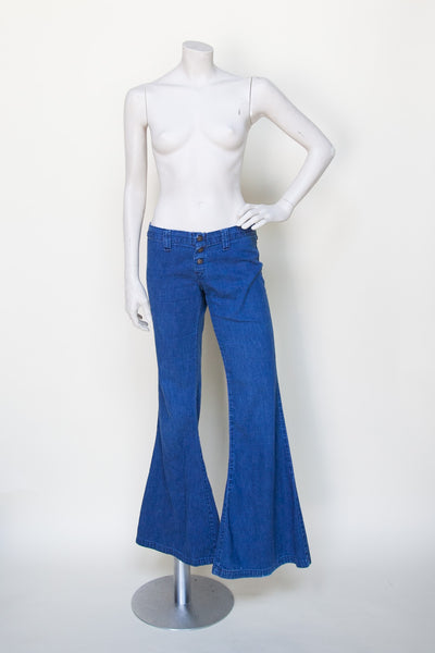 1970s low rise bell bottom jeans