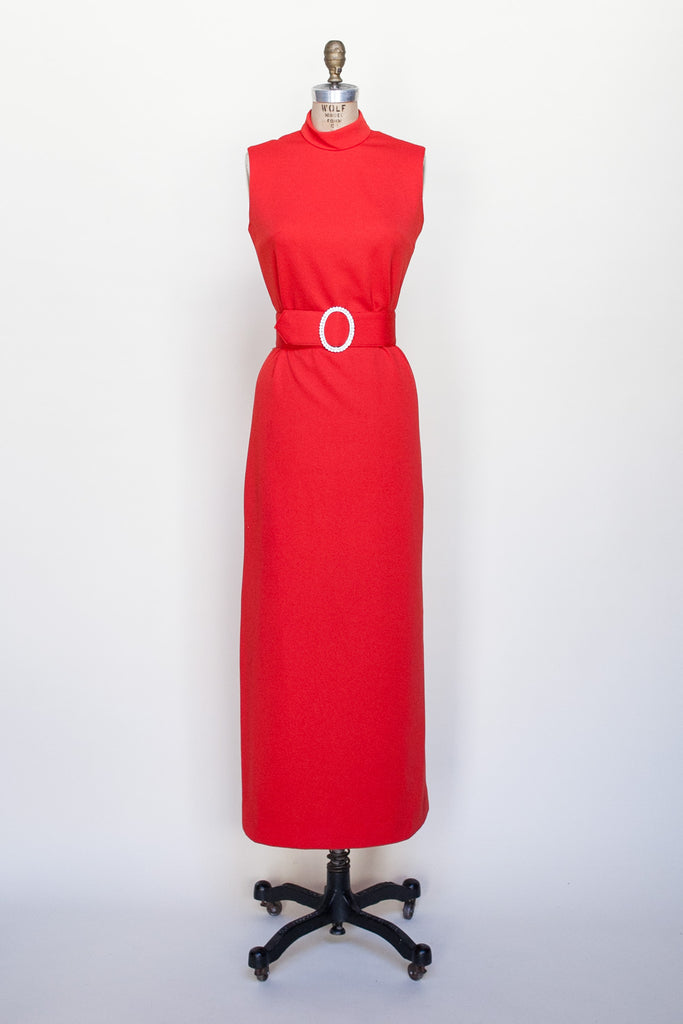 1970s red maxi dress from Velvetyogurt