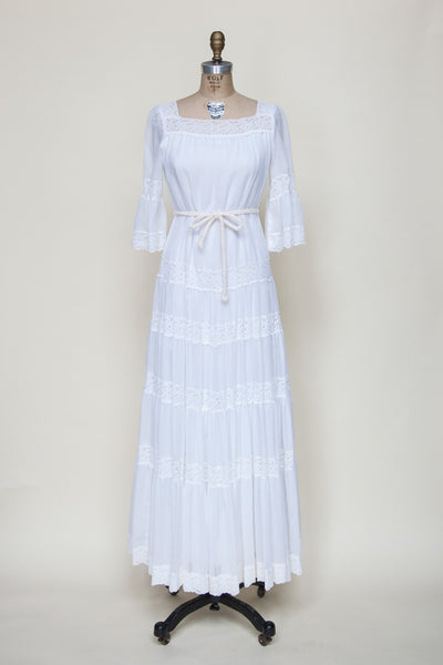 Vintage 1970s bohemian wedding dress