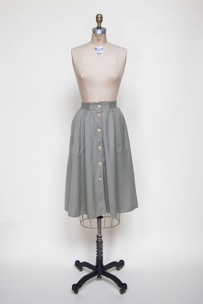 Vintage 1970s army green skirt from Onebigfishgreenevents
