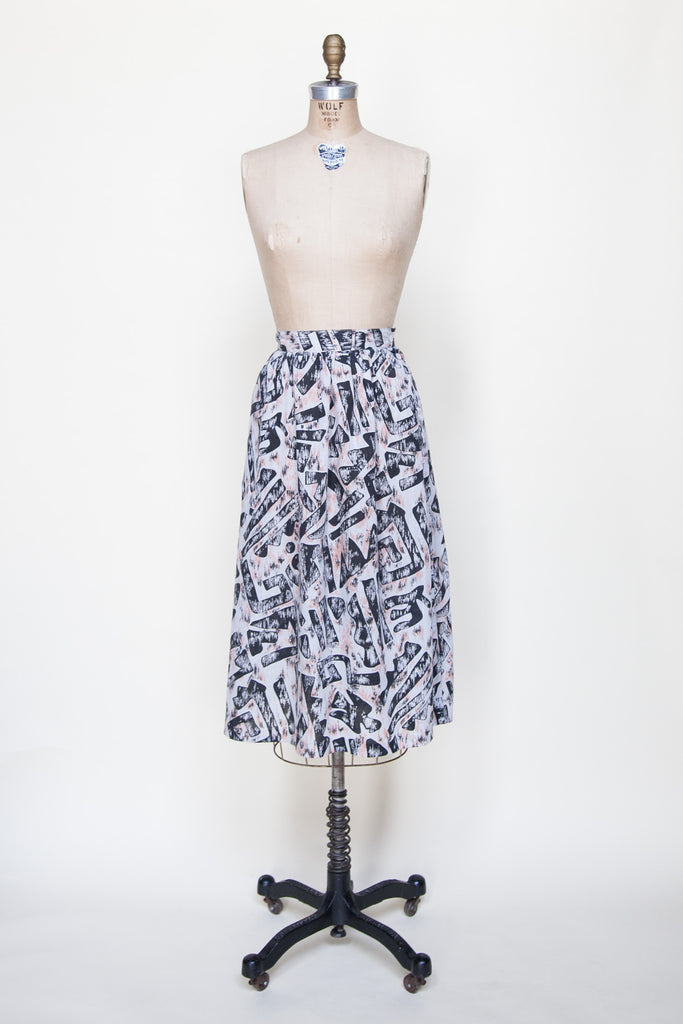 Vintage 1980s geometric print skirt from Onebigfishgreenevents