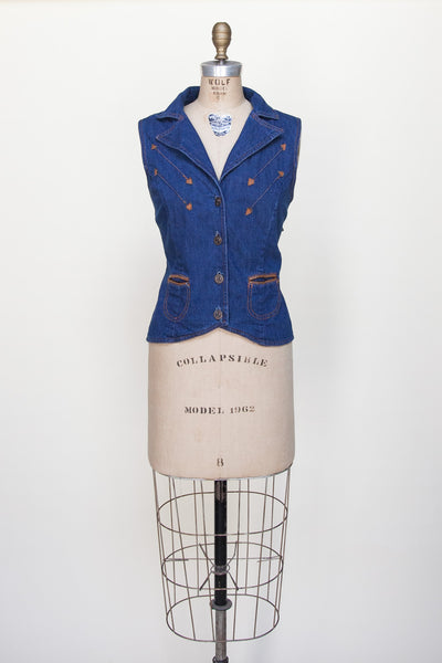 1980s denim vest from Dalena Vintage