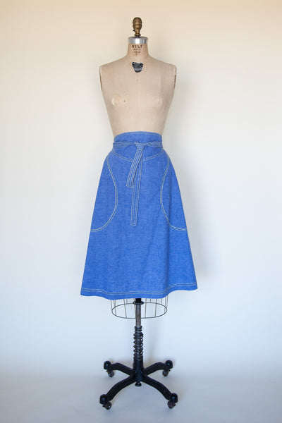 Vintage 1970s denim wrap skirt
