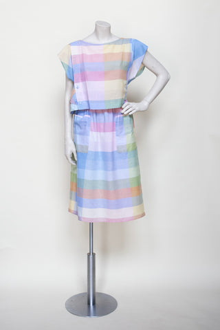 Vintage 1980s pastel skirt and top set from Dalena Vintage